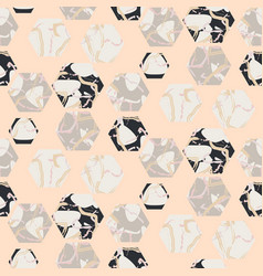 Marble stone hexagons seamless pale pink vector