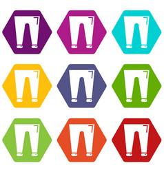 men fashion accesory pants icons set 9 vector image