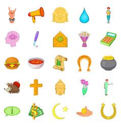 Mercy icons set cartoon style vector