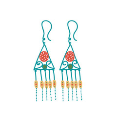 Metal earrings boho style jewelry accessories vector