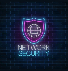 Network security glowing neon sign on wall vector