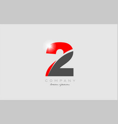Number 2 in grey red color for logo icon design vector