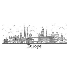 Outline famous landmarks in europe vector