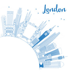 Outline london england skyline with blue vector