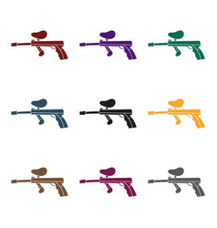 Paintball gun icon in black style isolated on vector