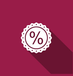 percent symbol discount icon with long shadow vector image