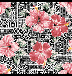pink hibiscus flower with hawaiian tribal motifs vector image