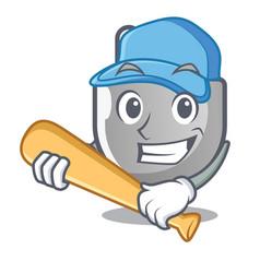 playing baseball power plug stuck the cartoon wall vector image