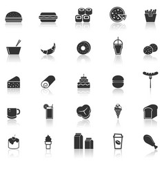 Popular food icons with reflect on white vector