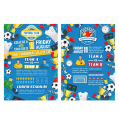 posters for football or soccer sport game vector image vector image