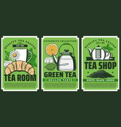 premium quality herbal tea shop teapot posters vector image