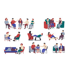 psychology therapy family and individual or group vector image