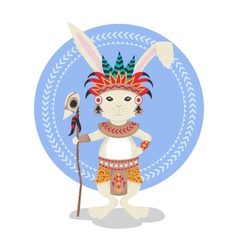 rabbit or bunny shaman Feathers ceremonial clothes vector image