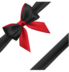 realistic red and black bow element for vector image