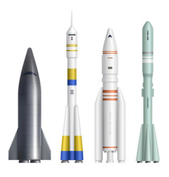 Realistic rocket spaceships launch futuristic vector