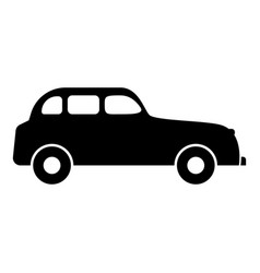 retro car icon black color flat style simple image vector image