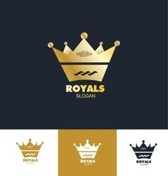Royal king crown logo icon set vector image vector image