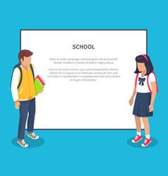 Schoolchildren from secondary school with backpack vector