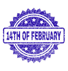 Scratched 14th of february stamp seal vector