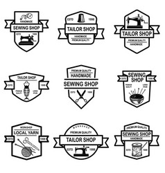 set tailor shop emblems design elements vector image