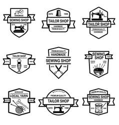 set tailor shop emblems design elements vector image