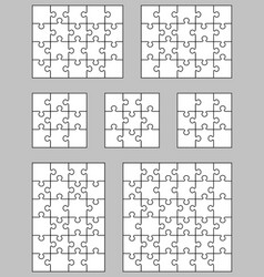 seven white puzzles vector image