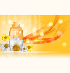 Shower gel cream bottle with flowers chamomile vector