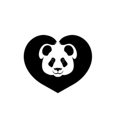 silhouette face panda paws shows sign heart vector image