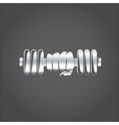 silver hand holding barbell design template vector image