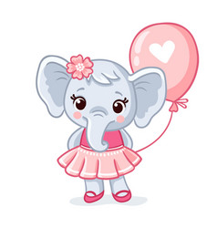 Small elephant stands in a beautiful pink dress vector