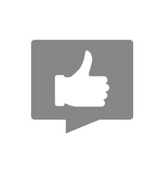 speech bubble with a thumb up gray icon positive vector image