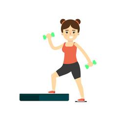 sporty girl in sportswear using step platform vector image vector image