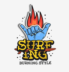 surf surfing themed vintage traditional tattoo vector image