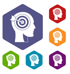 Target in human head icons set hexagon vector