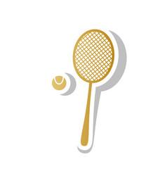 Tennis racquet with ball sign golden vector
