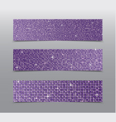 the banner purple sequins glitter sparkle back vector image
