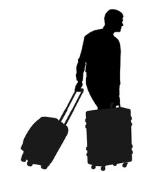 tourist man carrying rolling suitcase silhouette vector image