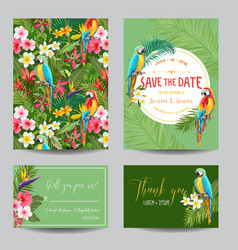 Tropical flowers and parrots wedding invitation vector