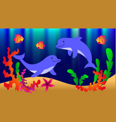 Underwater world with dolphins fish corals vector