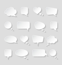 white paper speech bubbles on gray background vector image