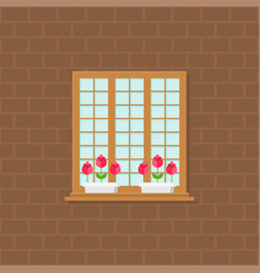 window and flower pot on brick wall flat design vector image