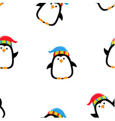 Winter pattern with penguin vector