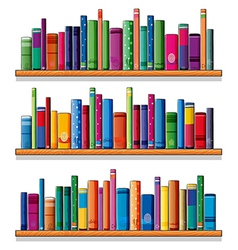 Wooden shelves with books vector