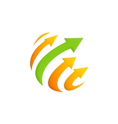 arrow sphere technology logo vector image