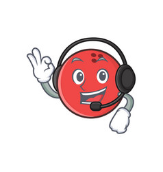 bowling ball character cartoon with headphone vector image
