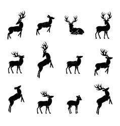 Deer silhouette set vector image vector image