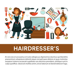 hairdresser beauty salon flat poster woman vector image vector image