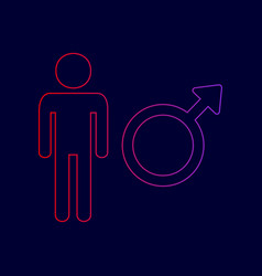 male sign line icon with vector image