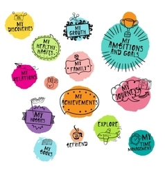 Set of hand-drawn icons for time managment vector image vector image