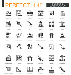 black classic building and construction tools web vector image vector image
